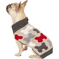 Pup Crew Bones Split Neck Dog & Cat Sweater, Medium