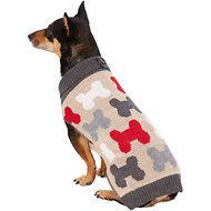 Pup Crew Bones Split Neck Dog & Cat Sweater, Large