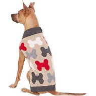 Pup Crew Bones Split Neck Dog & Cat Sweater, X-Large