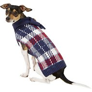 Pup Crew Blue Plaid Dog & Cat Scarf Sweater, Medium