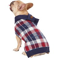 Pup Crew Blue Plaid Dog & Cat Scarf Sweater, Large