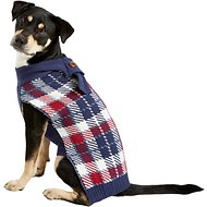 Pup Crew Blue Plaid Dog & Cat Scarf Sweater, X-Large