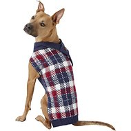 Pup Crew Blue Plaid Dog & Cat Scarf Sweater, XX-Large