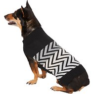 Pup Crew Black Striped Chevron Dog & Cat Sweater, Large