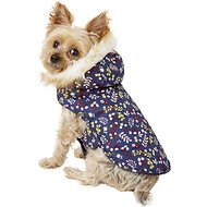 Pup Crew Floral Print Hooded Dog Jacket, XX-Small