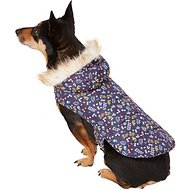 Pup Crew Floral Print Hooded Dog Jacket, Large