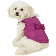 Pup Crew Pink Faux Fur Dog Jacket w/Bow, Small