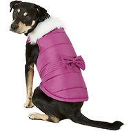 Pup Crew Pink Faux Fur Dog Jacket w/Bow, X-Large