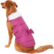 Pup Crew Pink Faux Fur Dog Jacket w/Bow, XX-Large