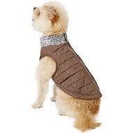 Pup Crew Dark Quilted Gray Dog Bomber Jacket, XX-Small