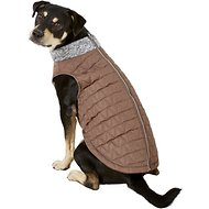Pup Crew Dark Quilted Gray Dog Bomber Jacket, X-Large
