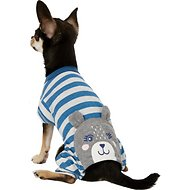 Pup Crew Blue Striped Bear Dog Pajamas, XX-Small