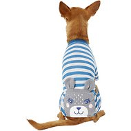 Pup Crew Blue Striped Bear Dog Pajamas, Medium