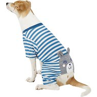 Pup Crew Blue Striped Bear Dog Pajamas, Large