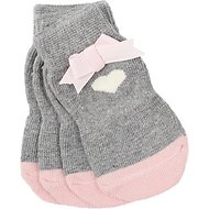 Pup Crew Non-Skid Gray Heart Bow Dog Socks, X-Small/Small