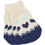 Pup Crew Blue Hearts Dog Socks, X-Small/Small
