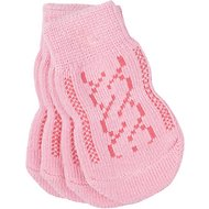 Pup Crew Non-Skid Pink Cable Knit Dog Socks, X-Small/Small