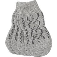 Pup Crew Non-Skid Gray Cable Knit Dog Socks, X-Small/Small