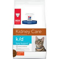 Hill's Prescription Diet k/d Early Support Chicken Dry Cat Food, 4-lb bag