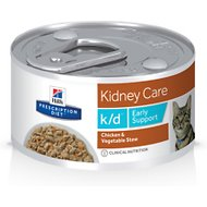 Hill's Prescription Diet k/d Early Support Chicken Canned Cat Food, 2.9-oz, case of 24