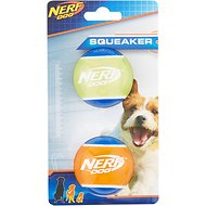 Nerf Dog Squeaker TPR Tennis Ball Dog Toy, 2 pack, Small