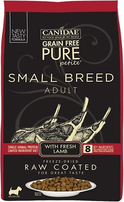 CANIDAE Grain Free PURE Petite Lamb Formula Small Breed Limited Ingredient Diet Freeze Dried Raw Coated Dry Dog Food 4 Lb Bag