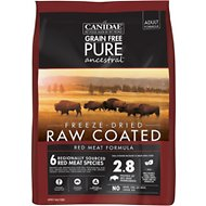 CANIDAE Grain-Free PURE Ancestral Red Meat Formula Freeze-Dried Raw Coated Dry Dog Food, 4-lb bag