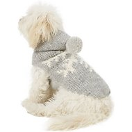 Chilly Dog Alpaca Grey Snowflake Dog Sweater, X-Small