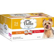 Purina Bella Grilled Chicken & Beef & Smoked Bacon Flavor Variety Pack Wet Dog Food Trays, 3.5-oz, case of 24