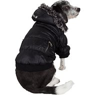 Pet Life Metallic Parka Dog Coat, Medium, Black