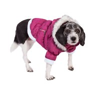 Pet Life Metallic Parka Dog Coat, Large, Pink
