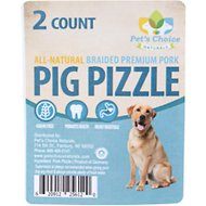 "Pet's Choice Naturals 6"" Braided Pig Pizzle Dog Treats, 2 count"