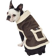 PetRageous Designs Acadia Faux Dog Bomber Jacket, Medium, Distressed Brown