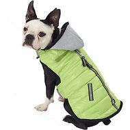 PetRageous Designs Stowe Dog & Cat Puffer Coat, Medium, Lime Green