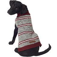 Eddie Bauer Marled Striped Dog Sweater, Medium, Gray & Brick