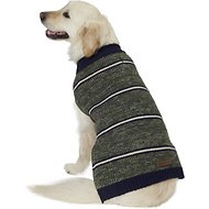 Eddie Bauer Marled Striped Dog Sweater, X-Large, Dark Thyme & Indigo