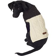 Eddie Bauer Two Tone Cable Dog Sweater, X-Small, Cocoa & Parchment