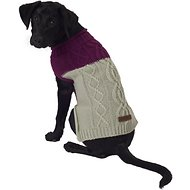 Eddie Bauer Two Tone Cable Dog Sweater, Medium, Plum Wine & Grey