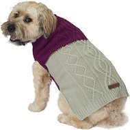 Eddie Bauer Two Tone Cable Dog Sweater, X-Large, Plum Wine & Grey