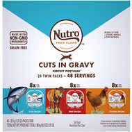 Nutro Perfect Portions Grain-Free Cuts in Gravy Variety Pack Beef, Tuna & Chicken Recipe Adult Cat Food Trays, 2.64-oz, case of 24 twin-packs