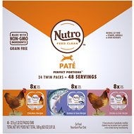 Nutro Perfect Portions Grain-Free Variety Pack Chicken, Salmon & Tuna, Chicken & Liver Paté Recipe Adult Cat Food Trays, 2.64-oz, case of 24 twin-packs