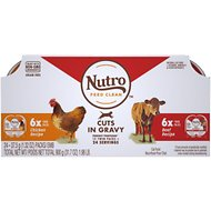 Nutro Perfect Portions Grain-Free Cuts in Gravy Variety Pack Chicken & Beef Recipe Adult Cat Food Trays