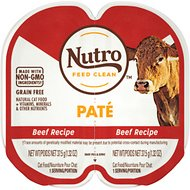 Nutro Perfect Portions Grain-Free Beef Paté Recipe Adult Cat Food Trays, 2.64-oz, case of 24 twin-packs