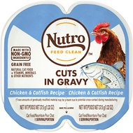 Nutro Perfect Portions Grain-Free Chicken & Catfish Recipe Cuts in Gravy Adult Cat Food Trays, 2.64-oz, case of 24 twin-packs
