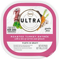 Nutro Ultra Grain-Free Filets in Gravy Roasted Turkey Entrée with Carrots & Spinach Adult Wet Dog Food Trays, 3.5-oz, case of 24