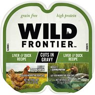 Wild Frontier by Nutro Liver & Duck Recipe Grain-Free High-Protein Adult Cuts in Gravy Cat Food Trays, 2.6-oz, case of 24 twin-packs