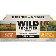 Wild Frontier by Nutro Chicken, Turkey & Duck Recipe Variety Pack Grain-Free High-Protein Adult Cuts in Gravy Cat Food Trays, 2.6-oz, case of 12 twin-packs