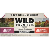 Wild Frontier by Nutro Turkey, Chicken & Beef Recipe Variety Pack Grain-Free High-Protein Adult Cuts in Gravy Cat Food Trays, 2.6-oz, case of 12 twin-packs