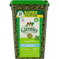 Greenies Feline Catnip Flavor Adult Dental Cat Treats, 21-oz tub