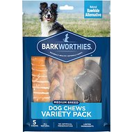 Barkworthies Medium Breed Variety Pack Natural Dog Chews, 5 count